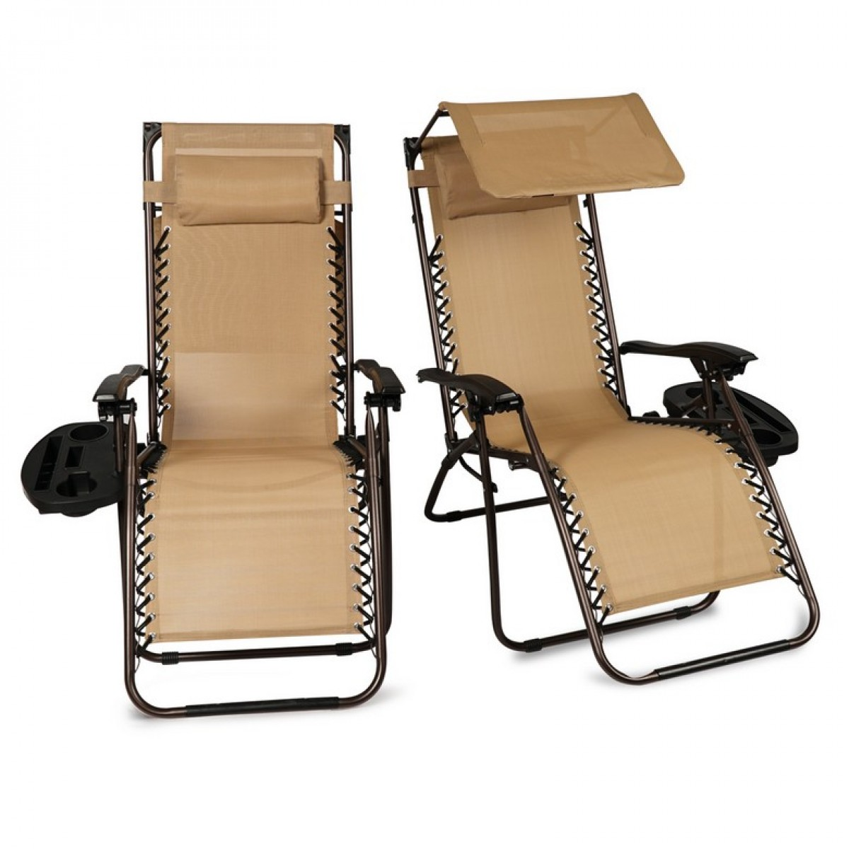 BELLEZE 2 Pack Zero Gravity Chair W/ Canopy Top Reclining Lounge Chairs  Outdoor Patio W/ Cup ...