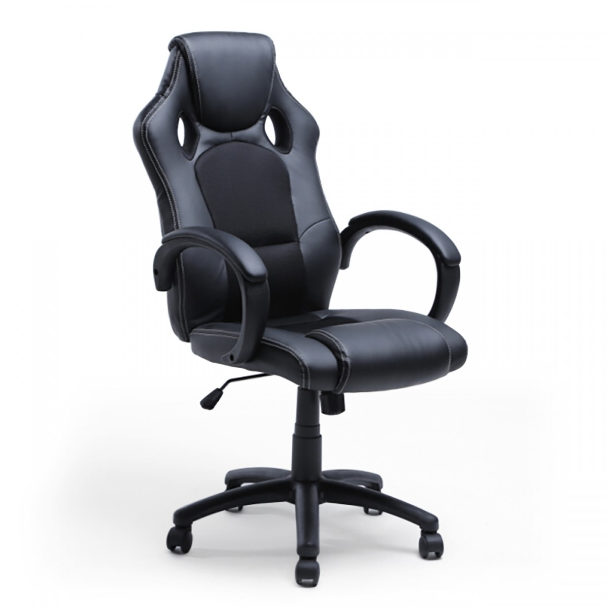 race car style bucket seat office chair high back executive swivel black leather. Black Bedroom Furniture Sets. Home Design Ideas