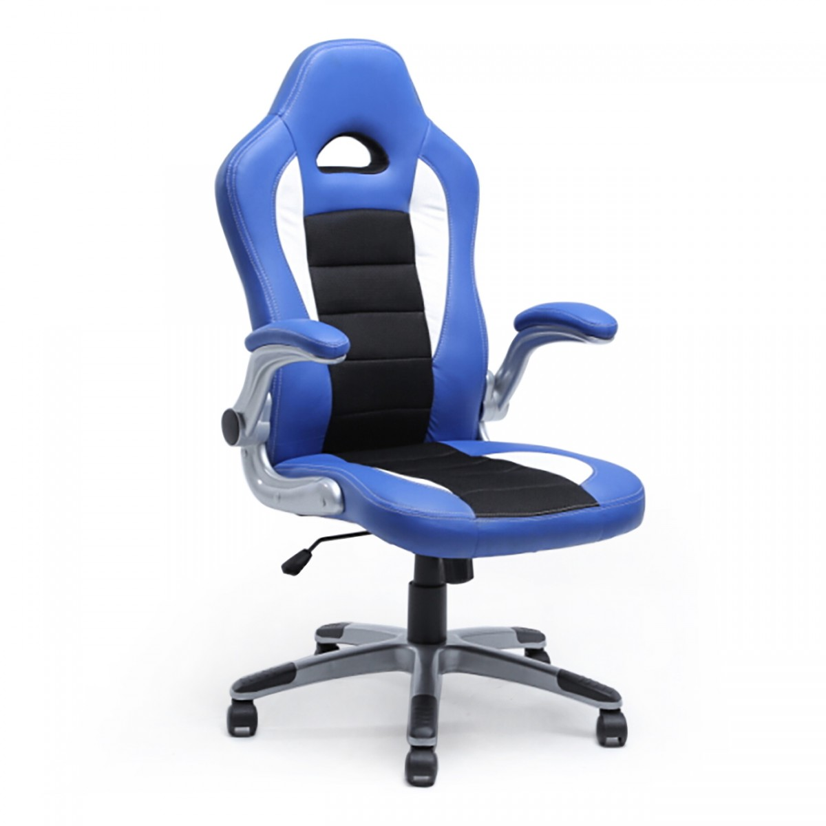 BELLEZE Executive Racing Style Bucket Seat PU Leather Office Chair Computer  360ᄚ Swivel, Blue