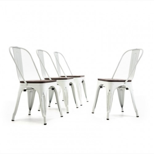 Set of 4 Modern Stackable Bistro Dining Chairs Wood Seat w/High Backrest Stool