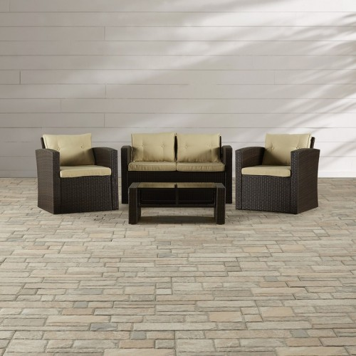 BELLEZE 4pc Wicker Outdoor Patio Set Furniture Cushioned Seats w/ Table UV Water Resistant, Brown
