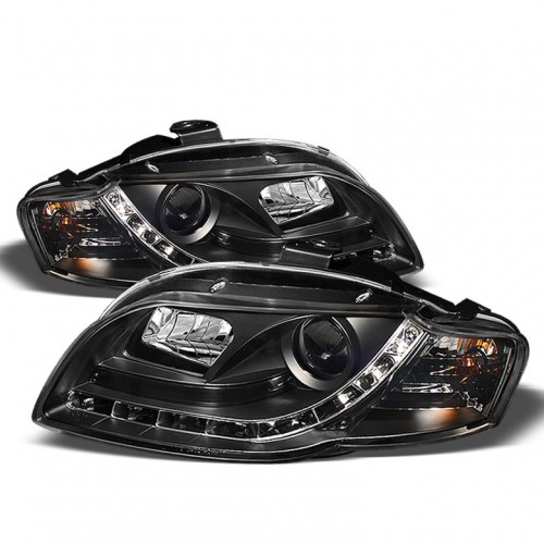SPYDER 2006-2008 Audi A4/S4 DRL LED Projector Headlights - Black